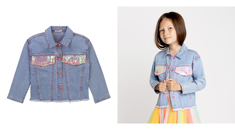 BILLIEBLUSH Veste en denim avec sequins fille - | Kids around